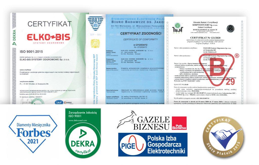 Certyfikaty i nagrody przyznane firmie Elko-Bis Systemy Odgromowe Sp. z o.o.